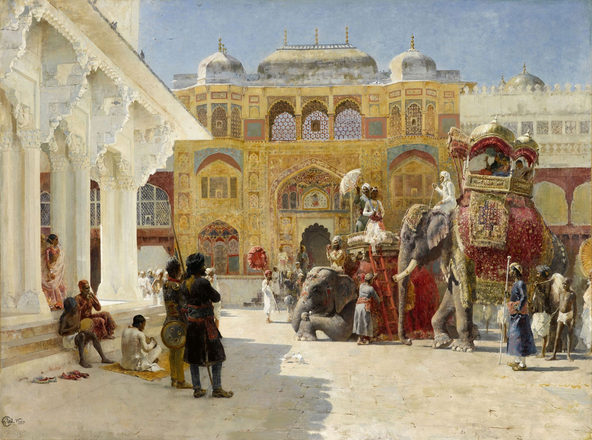 Edwin Lord Weeks (American, 1849-1903) The Arrival of Prince Humbert, the Rajah, at the Palace of...