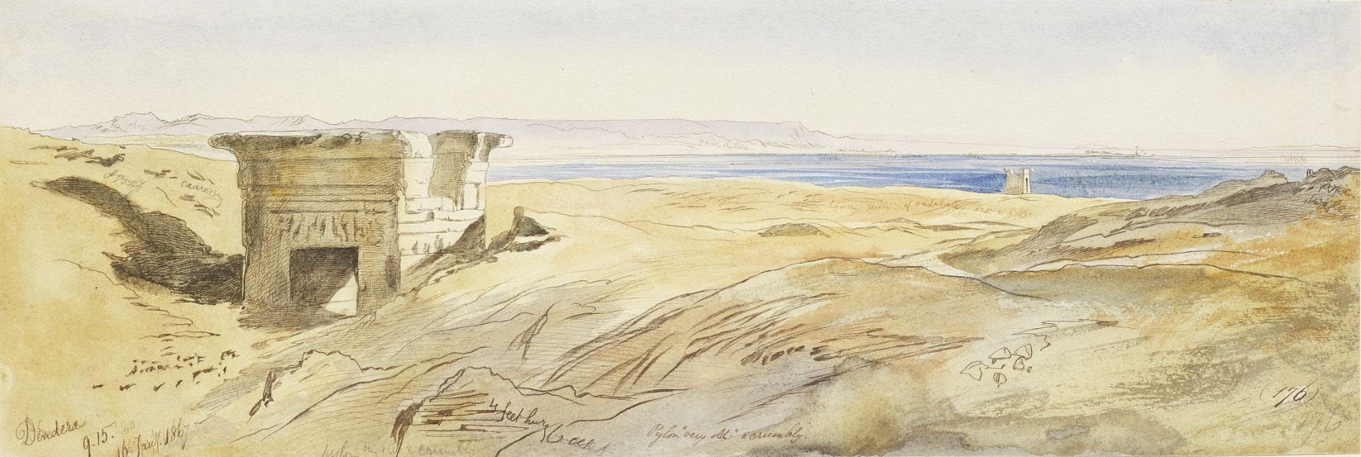Edward Lear (British, 1812-1888) Dendera, with a view of the Nile