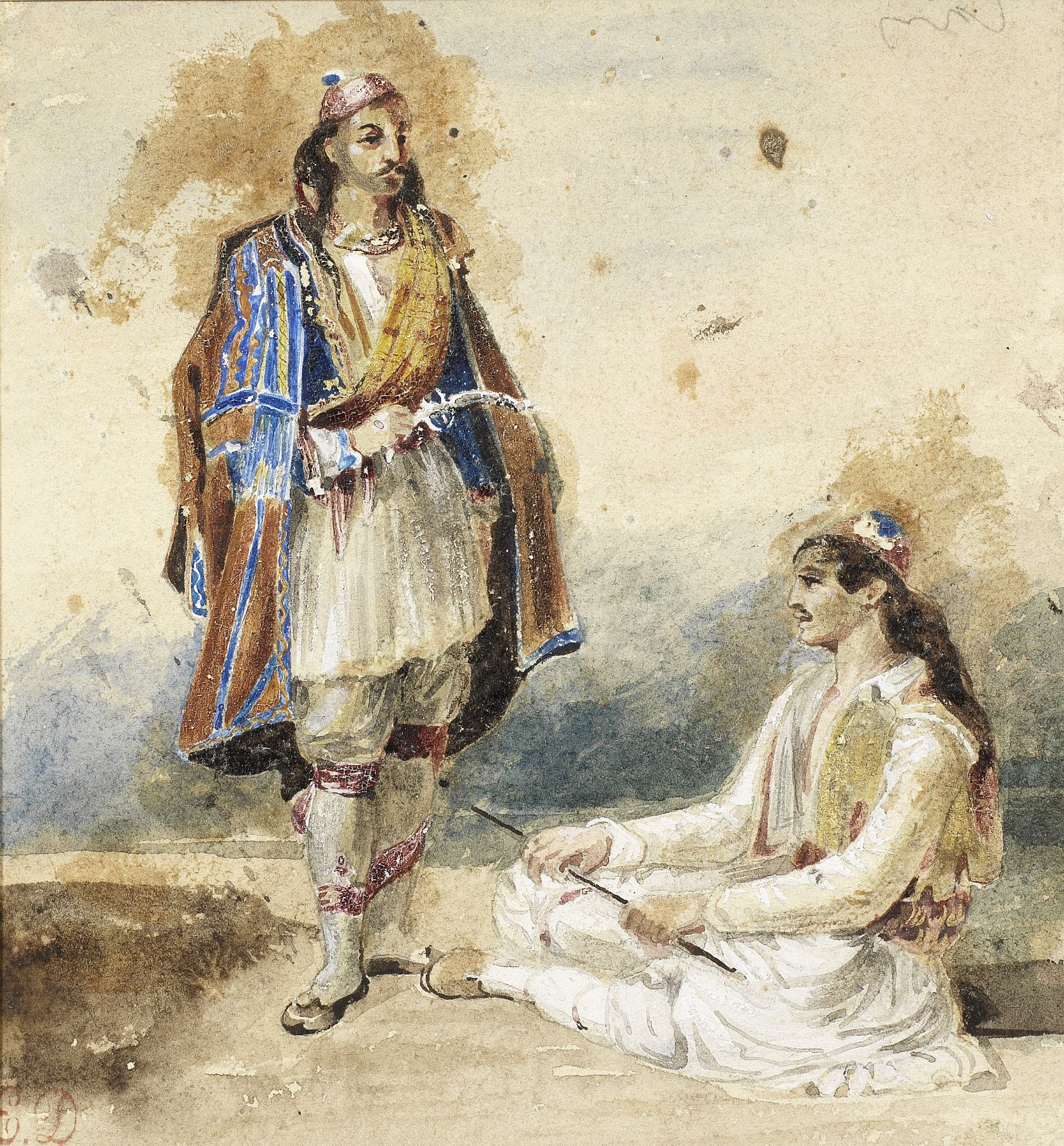 Eugène Delacroix (French, 1798-1863) Study of two Greeks (Executed circa 1823-1824)