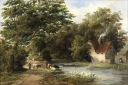 Attributed to Alfred Vickers Snr. (British, 1786-1868) Cattle watering at the mill pond