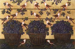 Studio of Miguel Canals (20th Century) Birds with baskets of fruit on a gold background unframed