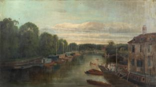 English School (19th century) River scene with figures rowing - possibly Henley