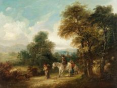 Follower of Thomas Barker of Bath (British, 1769-1847) Figures on a rural lane; A rest at the roa...