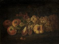 Attributed to Bartolomeo Castelli the Younger, called Lo Spadino (Rome 1696-1738) Peaches, plums ...