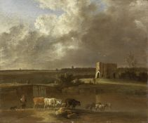 Attributed to Jan Vincentsz. van der Vinne (Haarlem 1663-1721) A drover with his flock crossing a...