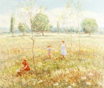 Jacques Meugnier (French, born 1951) Picking wildflowers; The garden in summer the first 45.7 x 5...