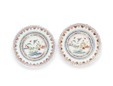 A pair of rose-Imari foliated dishes after a Pronk design The porcelain 18th century, the enamels...