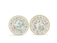 A pair of famille rose foliate rimmed dishes Iron-red Jiaqing seal marks and of the period (2)