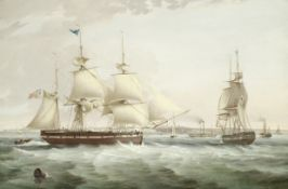 George Chambers, Snr. (British, 1803-1840) The merchant barque Crown in two positions and paddle ...