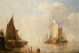 Attributed to Sir Augustus Wall Callcott, RA (British, 1779-1844) A Dutch shoreline with coastal ...