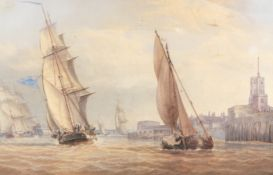 William Joy (British, 1803-1867) Shipping at the entrance to Portsmouth Harbour