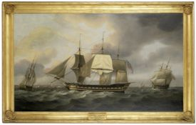 Thomas Luny (St Ewe 1759-1837 Teignmouth) The East Indiaman Belvedere in three positions off Port...