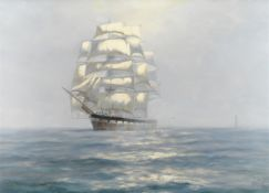Henry Scott (British, 1911-2005) 'Sea Mist off the Eddystone - Wool Clipper Jessie Readman'