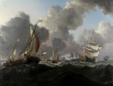 Charles Martin Powell (British, 1775-1824) English warships and Dutch hoys in a stiff North Sea b...