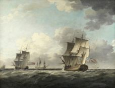 Follower of Charles Brooking (British, 1723-1759) Two Admiralty yachts sailing in company in a st...