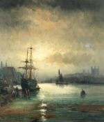 William Thornley (British, Active 1857-1898) Morning and evening shipping, a pair (2)