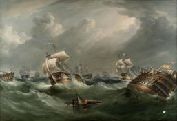 Richard Barnett Spencer (British, active 1840-1874) The storm after the Battle of Trafalgar, 21st...