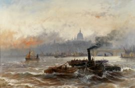 Edwin Henry Eugene Fletcher (British, 1857-1945) Shipping on the Thames, St Paul's Cathedral in t...