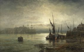 William Thornley (British, Active 1857-1898) 'Moonlight - Mouth of the Medway'; and A coastal sce...