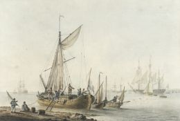 Samuel Atkins (British, fl.1787-1808) Dutch merchant boats on an estuary with Dutch naval craft i...