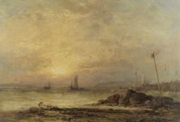 James Webb (British, 1825-1895) Evening on an English coast