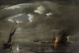 Peter Monamy (London 1681-1749) Caulking ship by moonlight at the Nore
