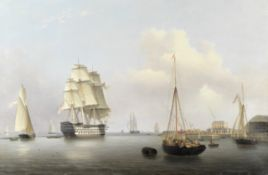 Lieutenant Robert Strickland Thomas (British, 1787-1853) Two magnificent First Rates: HMS Trafalg...