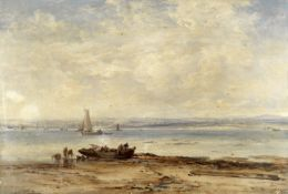 James Webb (British, 1825-1895) 'A bit on the coast near Netley'