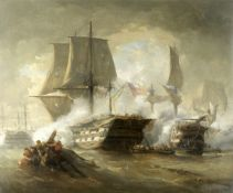 Hendrik Frans (Henri) Schaefels (Belgian, 1827-1904) In the heat of a furious naval engagement