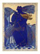 Alecos Fassianos (Greek, born 1935) Blue smoker with scarf 100 x 70 cm (109 x 79 cm with frame).