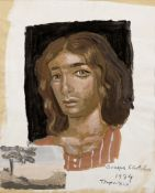 Yiannis Tsarouchis (Greek, 1910-1989) Portrait of Dominique with small landscape 26 x 21 cm.