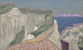 Nikos Hadjikyriakos-Ghika (Greek, 1906-1994) Chalk cliffs and sea 38.5 x 63 cm.