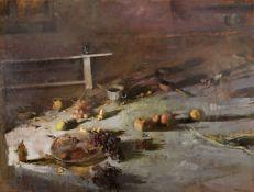Stephanos Daskalakis (Greek, born 1952) Still life with summer fruits 130.5 x 173 cm. (Painted ...
