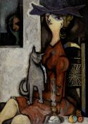 Mario Prassinos (Greek, 1916-1985) La Dame au chat 90 x 64 cm. (Painted in 1944. )