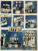 Yannis Gaïtis (Greek, 1923-1984) Les merveilleux fous volants 116 x 88.5 cm. (Painted in 1966.)