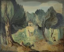 Agenor Asteriadis (Greek, 1898-1977) Harvesting the olives 65 x 81 cm. (Painted in 1933. )