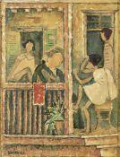 Nikos Hadjikyriakos-Ghika (Greek, 1906-1994) Family afternoon 23 x 18 cm. (Painted in 1946. )