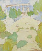 Spyros Papaloukas (Greek, 1892-1957) Temple of Afea, Aegina 20 x 24 cm. (Painted in 1923. )