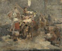 Nikiforos Lytras (Greek, 1832-1904) Returning from the fair of Pendeli 20.5 x 25 cm.