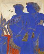 Alecos Fassianos (Greek, born 1935) Man in love wearing a tie 122 x 100 cm.