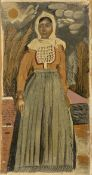 Yiannis Tsarouchis (Greek, 1910-1989) Woman from Salamis/ Koulouriotissa 46 x 25 cm. (Painted in...