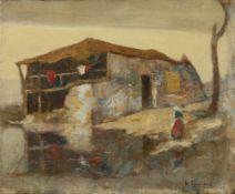 Michalis Economou (Greek, 1888-1933) Houses in Bretagne 38.5 x 46 cm.