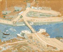 Fotis Kontoglou (Greek, 1895-1965) Bridge, Chalkida 24 x 29 cm.