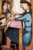 Diamantis Diamantopoulos (Greek, 1914-1995) Girl at the loom 150 x 99.5 cm. (Painted c. 1949-1978.)