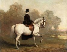 English School (19th century) Portrait of a lady riding a white horse