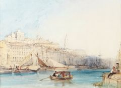 William Callow, RWS (British, 1812-1908) Harbour scene, possibly Mykonos