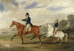 James Pollard (British, 1797-1867) Father and son out riding