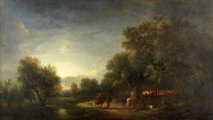 John Berney Crome (British, 1794-1842) Wayfarers at the smithy, Hingham, Norfolk