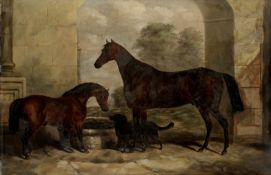 Circle of John Alfred Wheeler of Bath (British, 1820-1885) Mare, foal and dog in the stable yard