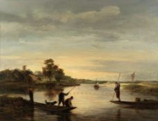 Attributed to George Vincent (British, 1796-1831) A view on the broads with men fishing from punts